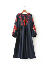 Vintage 70s HIPPIE Mexican Floral Embroidered Boho balloon sleeve MAXI DRESS