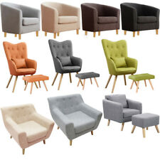 Stylish Fabric Linen Lounge Wing Tufted Back Accent Tub Chair Armchair+Footstool