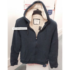 ABERCROMBIE & FITCH MENS SHERPA LINED WAFFLE HOODIE SWEATSHIRT NAVY SIZE XL