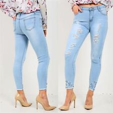 Womens Ladies Distressed Diamond Stud Raw Edges Ripped Denim Skinny Fitted Jeans