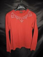 Ariat L Dark Red Black Embroidered Shirt Western Cotton Knit Long Sleeve T Large