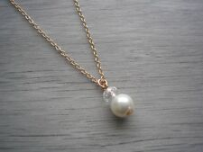 Cream Pearl & Crystal Drop on Fine Rose Gold plated Necklace Chain (15f)