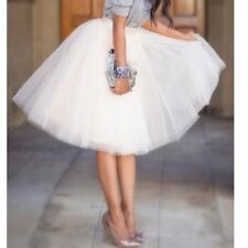 5 Layers 65cm Summer Midi Tulle Skirt Fashion Pleated TUTU Skirts Womens Lolita
