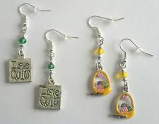 Sewing Quilting Knitting Earrings - Metal Enamel Charms with Glass Beads