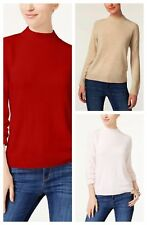 Karen Scott Luxsoft Mock Turtleneck Sweater Zipper Red Pink Beige L XL NWT W6