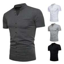 Men'S Basic T-shirt Slim Fit V Neck cotton Tee Short Sleeve Solid Casual Tops