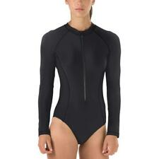 Speedo Womens Swimsuit One-Piece Black UV 50+ Sporty High Neck Zip Front