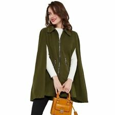 New Fashion Green Color Long Loose Sleeve Winter Cloak Cape Coat For Women