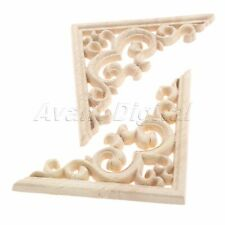 Wood Carved Vintage Unpainted Decal Corner Onlay Applique Frame Furniture Decor