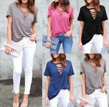 Women's Casual Low-cut V Neck Lace Up Short Sleeve Solid Shift Shirt Top Blouse