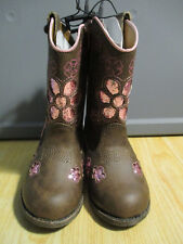 Faded Glory Toddler Girls Brown Pink Glitter Fashion Cowboy Boots Size: 7;8 NWT!