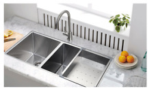"Starstar 32.75"" 40/60 Undermount 304 Stainless Steel Double Bowl Kitchen Sink"
