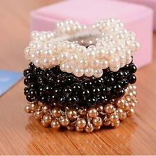 Korean Style Women Solid Rope Ponytail Holder Faux Pearl Beads Elastic Hair Band