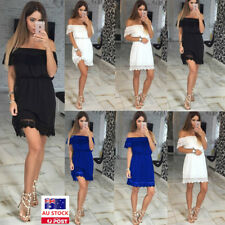AU Women Off Shoulder Lace Short Sleeve Ruffled Casual Party Cocktail Mini Dress