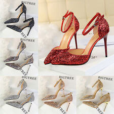 Sexy Women Strappy Bling Sandals Stiletto Pointed-toe High Heels Party Shoes