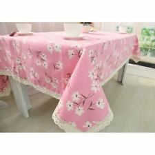 Cotton Fabric Rectangle Shape Floral Printed Pattern Tablecloth For Party Decor