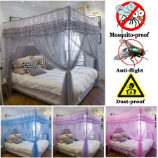 Naturally Mosquito-proof Four 4 Corner Bed Curtain +Bedding Bracket Post Frame