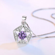 925 Sterling Silver Crystal Hollow Star Pendant Necklace For Fashion Women Gift