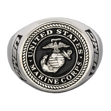 United States US Marine Corps USMC Military Silver Ring