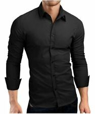 Mens Shirt Brand Male Long Sleeve Shirts Casual Hit Color Slim Fit Solid Color M