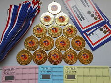 CHEERLEADERS - 50 MM METAL MEDALS /RIBBONS/X 15 WITH CERTIFICATES/ CARDS