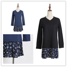 Women Floral Spliced V-neck Casual Long Sleeve Loose Plus Size Shirt Dress
