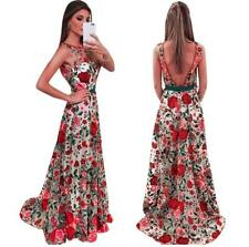 Women's Rose Embroidery Mesh Cover-up Back V Sleeveless Maxi Swing Evening Dress