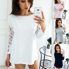 Women Scoop Neck Raglan Lace Hollow Out Sleeve Shift Casual Shirt Thin Blouse