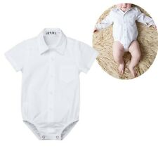 Infant Baby Button up Bodysuit Boys Gentleman Formal Shirt Romper Jumpsuit White