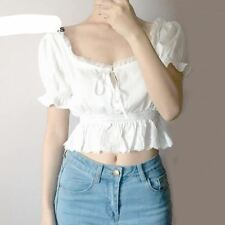 Women Square Neck Chiffon Spliced Lace Hem with Puff Sleeve Short Sleeve Blouse