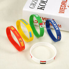 World Cup Country Flag Silicone Bracelet Bangle Sport Wristband Rubber Jewellery