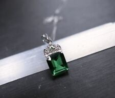 3ct Emerald White Sapphire Sterling Silver Pendant Necklace Jewelry Gifts Luxury