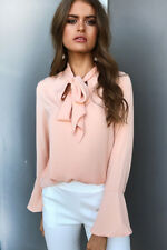 Women's Long Sleeve Women V-Neckline Shirt Tops Ruffle Bowknot Lace-up Blouse US