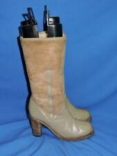 Morrow Taylor 9.5 Brown Shearling Leather Boots Heels Mid Calf 9 1/2 New Zealand