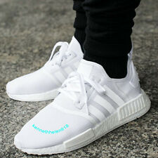 NEW ADIDAS NMD R1 RUNNING SHOES TRIPLE WHITE BA7245 MENS SIZE 9