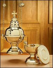 EASTERN RITE SANCTUARY INCENSE CENSER boat and spoon CATHOLIC Sacred Heart Cross