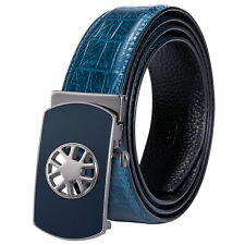 Fashion Mens Belt Genuine Leather Blue Belt Automatic Buckle Belt Leather Straps