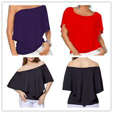 Women's Boat Neck Dolman Sleeve Convertible Flattering Ruffled Tiered Top Blouse