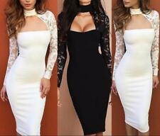 Women Front Hollow Out Mock Neck Long Lace Sleeve Bodycon Package Hip Club Dress