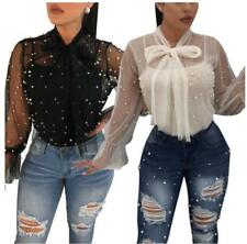 Women's Twinset Sheer Lace Beaded Long SLeeve Self-tie Shirt + Strappy Tank Top