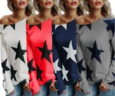 Women Star Pattern Boat Neck Slim Fit Long Sleeve Casual Shirt Tops Blouses