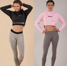Women Front Hollow Out Hooded Drawstring Long Sleeve Solid Casual Crop Top