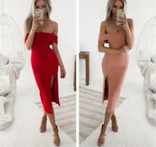 Women Solid Wrapped Strappy Side Slit Bodycon High Waist Tunic Knee Length Dress