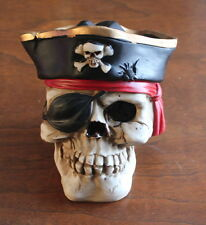 Halloween Decoration Hand Painted Pirate Skull Bust - Chalk Ware
