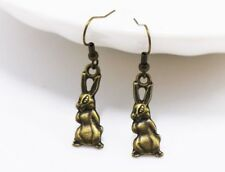 Little Rabbit Earrings Necklace Antique Bronze Small Cute Animal Dangle Handmade