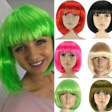 Fancy Dress Party Wig Bob Style Green Pink Blue Heat Resistant Cosplay Hair Yuk4
