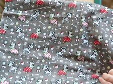 PolyCotton Fat Quarter Spotted Dogs, Bones, Paw Prints on Mid Grey 22