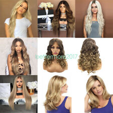 Full Wig Long Curly Straight Wavy Synthetic Hair Blonde Wigs For Women Ladies