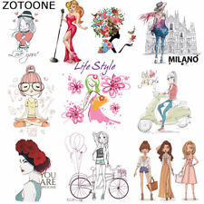Iron on Transfer Patches Pretty Girl Patch for Clothing T-shirt Appliqued