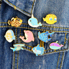 Cute Animals Whale Shark Octopus Puffer Fish Hard Enamel Pin Lapel Brooches TO